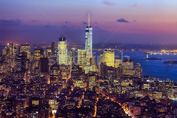 New York belváros Freedom Tower sziluett délután égbolt Stock fotó © hanusst