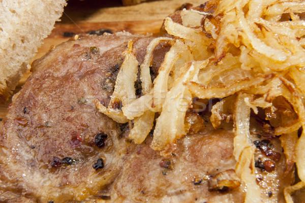 Frito cebola bife comida fundo frango Foto stock © hanusst