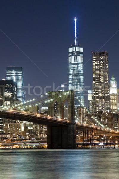 Nueva York horizonte puente noche torre de la libertad negocios Foto stock © hanusst
