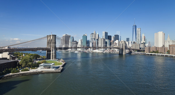 New York belváros híd park New York Freedom Tower Stock fotó © hanusst