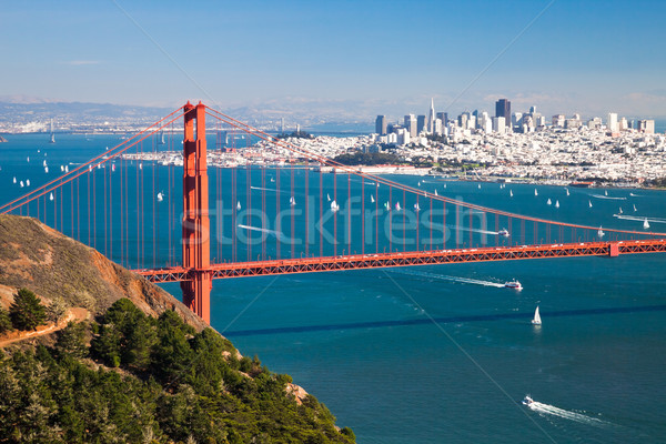 San Francisco panorama Golden Gate Bridge affaires eau ville Photo stock © hanusst