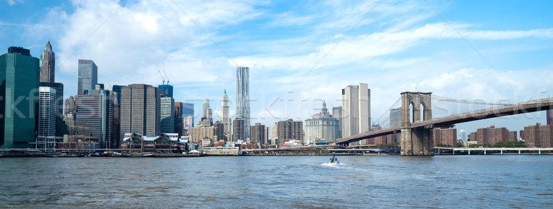 New York belváros Freedom Tower sziluett délután üzlet Stock fotó © hanusst