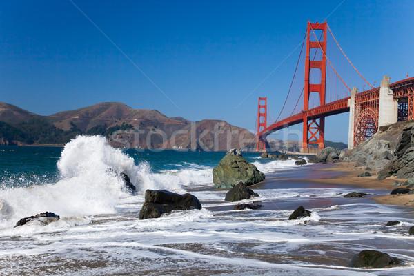 Golden Gate Bridge ondas San Francisco céu água estrada Foto stock © hanusst