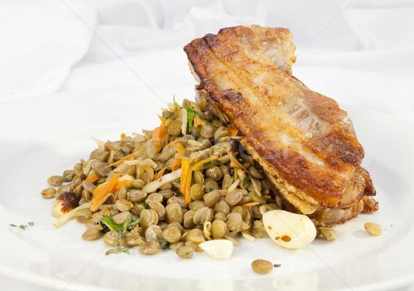 Gebakken varkensvlees buik spek groene Stockfoto © hanusst