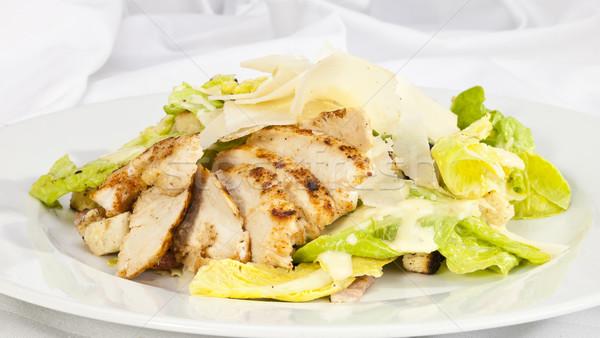 Caesar salade salade caesar stukken kip parmezaan Stockfoto © hanusst