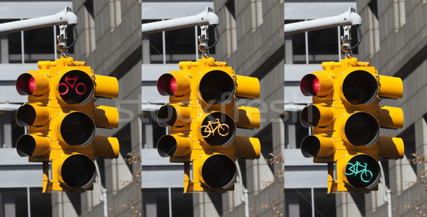 Bicycle lights on the crossroad in New York City Stock photo © hanusst