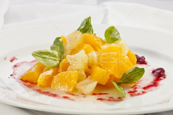 Vruchtensalade oranje grapefruit gemengd sinaasappelen blad Stockfoto © hanusst