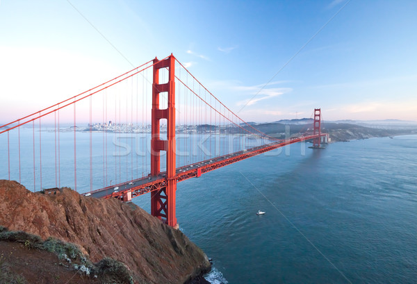 Золотые Ворота сумерки Сан-Франциско небе воды дороги Сток-фото © hanusst