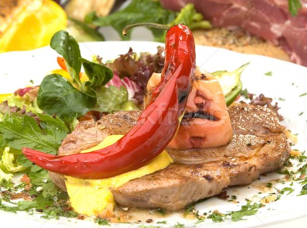 Disznóhús vesepecsenye befejezés grillezett étel vacsora Stock fotó © hanusst