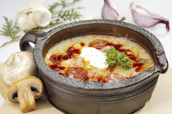 Champignons soupe frit saucisse alimentaire lumière Photo stock © hanusst