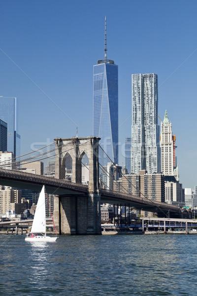 New York belváros híd New York Freedom Tower üzlet Stock fotó © hanusst