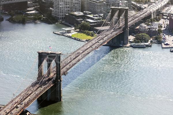 Stockfoto: New · York · City · brug · hemel · kantoor · water · gebouw