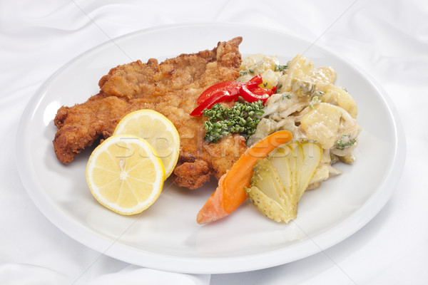 Vienna schnitzel with vegetables Stock photo © hanusst