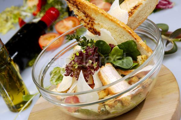 Salada de frango alface pão francês restaurante frango queijo Foto stock © hanusst