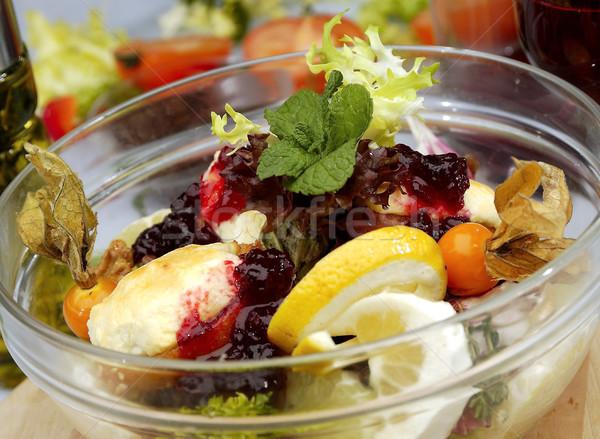 Salade de fruits canneberges confiture citron menthe laisse Photo stock © hanusst