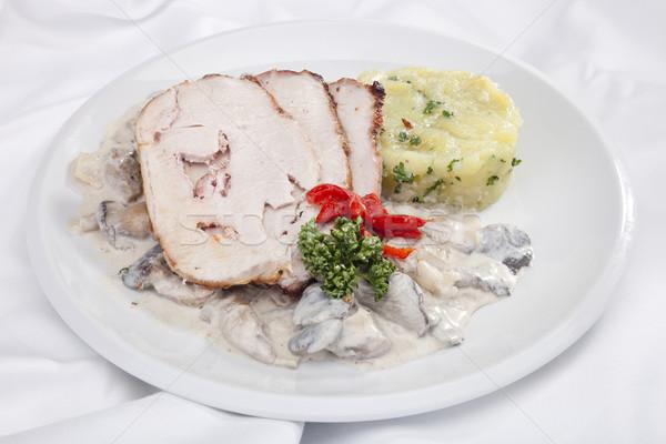 Carne de porco cogumelos batata boca Foto stock © hanusst