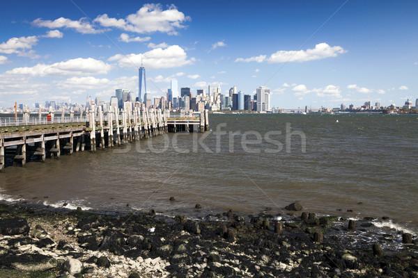Photo stock: New · York · City · centre-ville · Skyline · après-midi · nuages