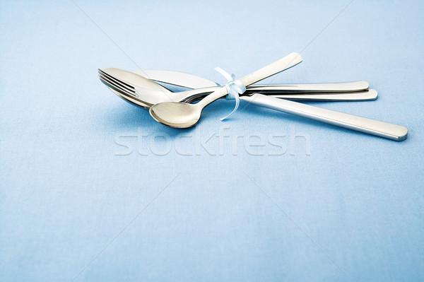 Photo stock: Argent · vêtements · bleu · nappe · métal