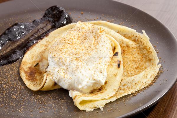 Crepe pancake with whipped cram Stock photo © hanusst