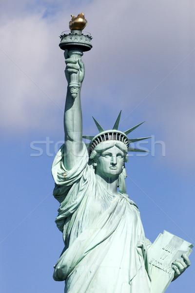 Standbeeld vrijheid detail eiland New York City Blauw Stockfoto © hanusst