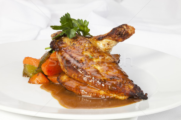 Stock photo: Grilled Chicken breast w wing