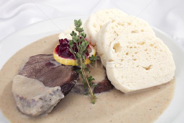Sığır filetosu krem sos peynir biber biftek Stok fotoğraf © hanusst