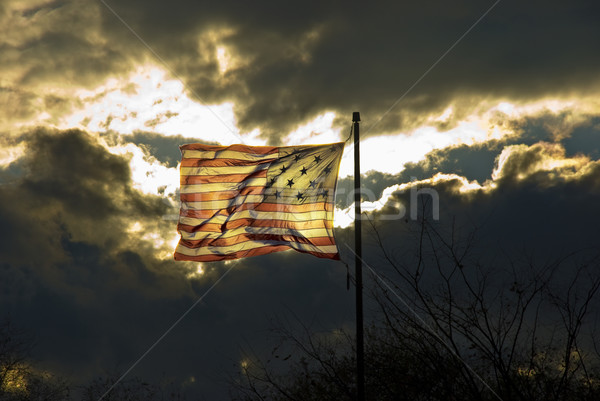 American flag with 15 stripes and 15 stars Stock photo © hanusst
