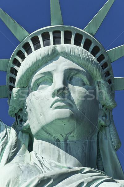 Stok fotoğraf: Heykel · özgürlük · detay · ada · New · York · mavi