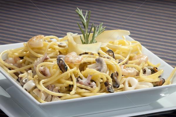 Italiana pasta frutti di mare rosmarino pesce mare Foto d'archivio © hanusst