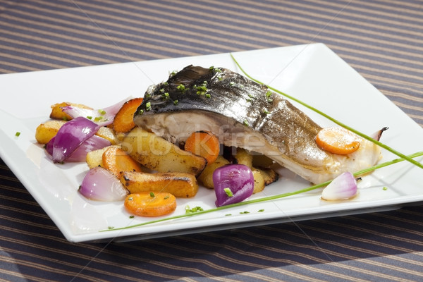 гриль карп растительное гарнир продовольствие рыбы Сток-фото © hanusst