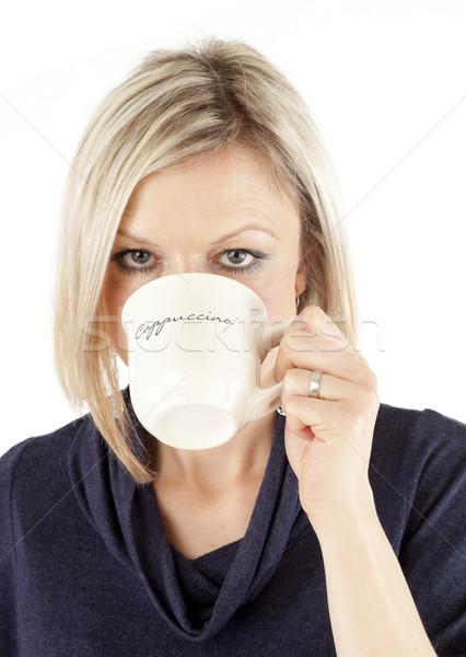 красивая женщина питьевой кофе кружка женщины Сток-фото © hanusst