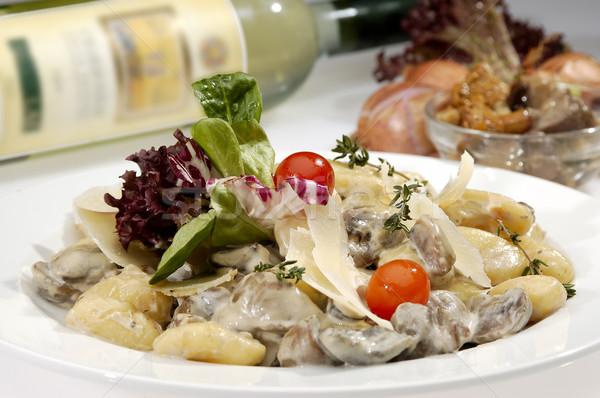イタリア語 キノコ レタス クリーム ソース ストックフォト © hanusst
