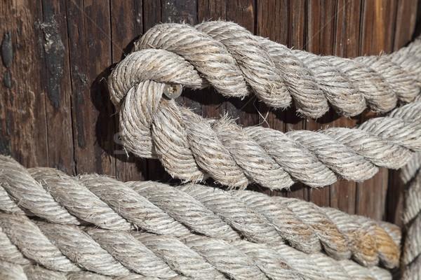 Houten post boot witte stropdas zeilen Stockfoto © hanusst