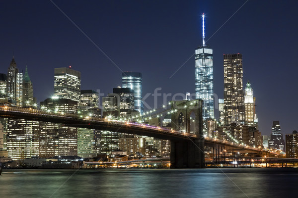 Stock photo: The New York City skyline w Brooklyn Bridge