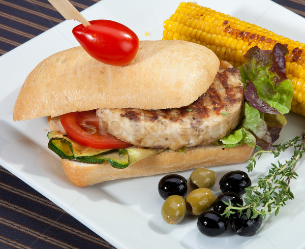 Sandwich w meat grilled corn and aubergine Stock photo © hanusst