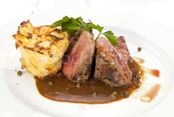 Grilled Sirloin with pepper sauce and potatoes Stock photo © hanusst