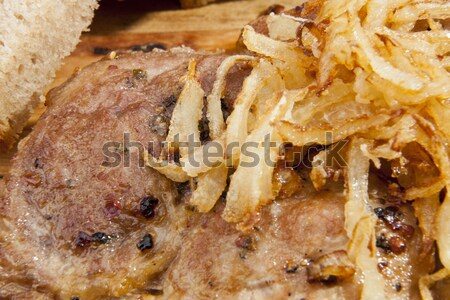 Frit oignon steak alimentaire fond poulet Photo stock © hanusst