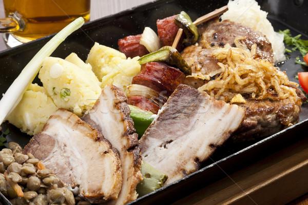 Gegrild vlees worstjes europese stijl voedsel Stockfoto © hanusst