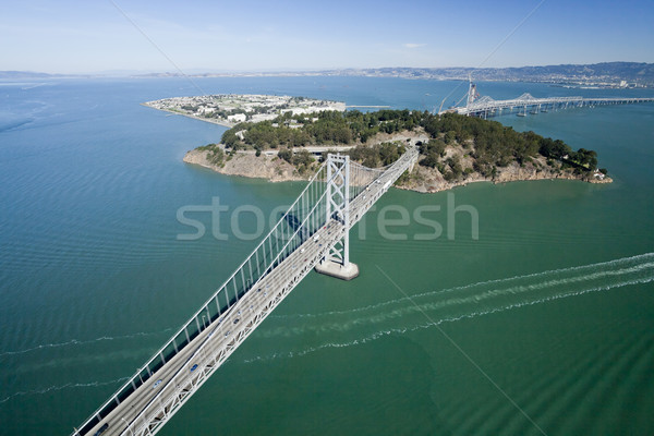 San Francisco Bay bridge aerial view w Treasure Island Stock photo © hanusst