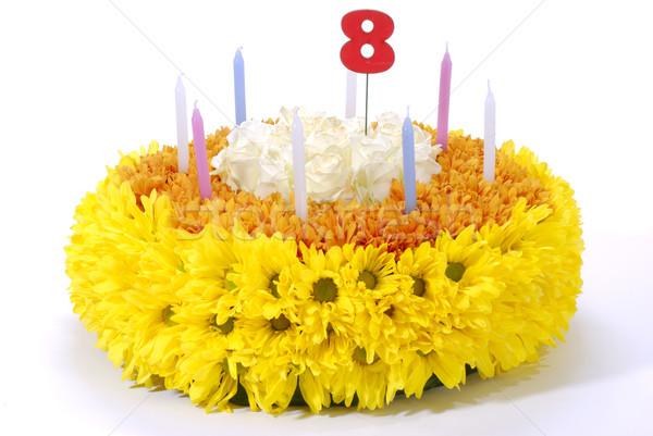 Flores bolo de aniversário bolo flor luz Foto stock © hanusst