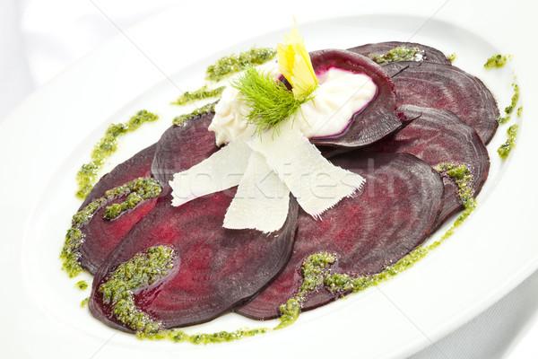 Vegetarisch bieten geitenkaas pesto voedsel groene Stockfoto © hanusst