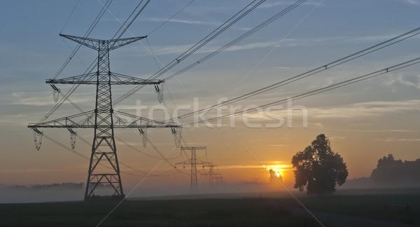 Elektromosság nukleáris erőmű cseh drámai napfelkelte Stock fotó © hanusst