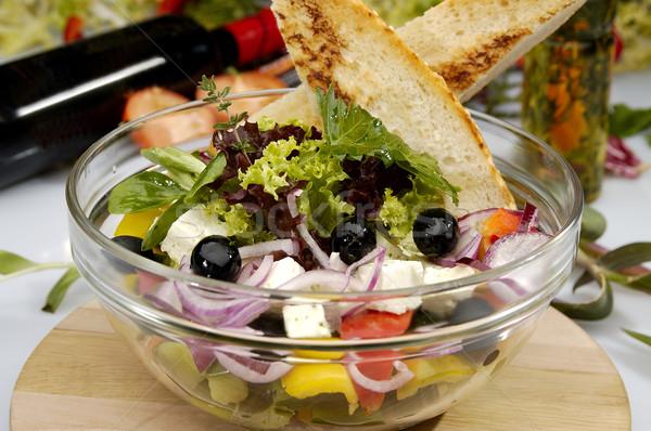 Görög saláta sajt zöldség étel egészség Stock fotó © hanusst