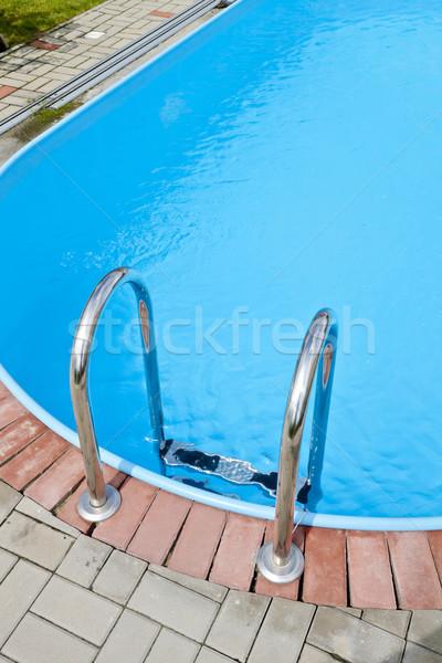 Piscina passos metal textura verão piscina Foto stock © hanusst