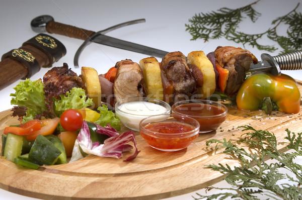 различный мяса кинжал зеленый обеда красный Сток-фото © hanusst