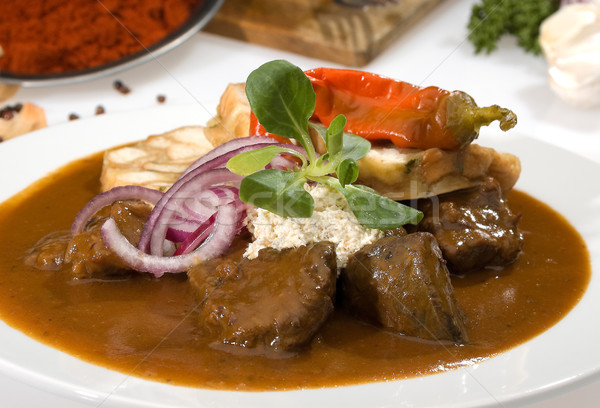 Kırmızı et sebze biber yemek Stok fotoğraf © hanusst