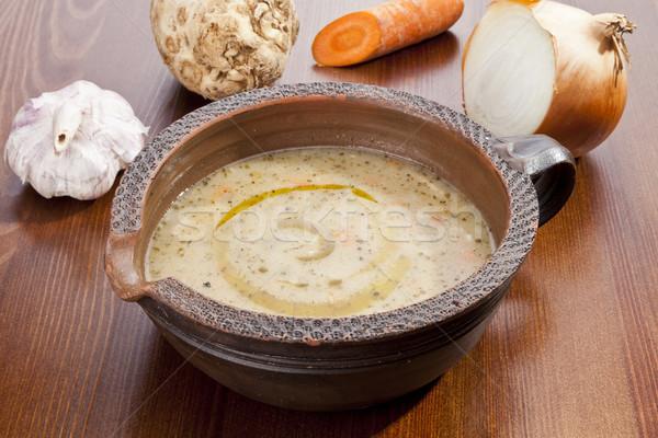 Aardappelsoep plantaardige wortel prei champignons gezondheid Stockfoto © hanusst