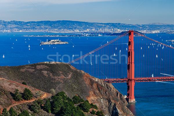 The Golden Gate Bridge, Oakland City and Alcatraz Stock photo © hanusst
