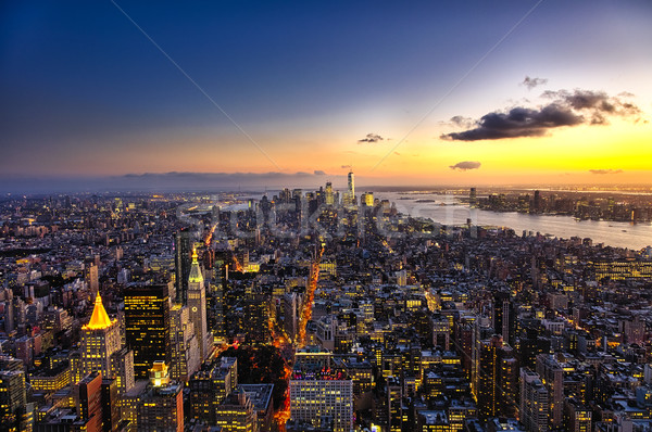 New York Manhattan Freedom Tower New Jersey sziluett délután Stock fotó © hanusst