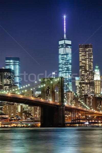 New York sziluett híd éjszaka Freedom Tower üzlet Stock fotó © hanusst